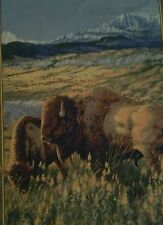 Bison feeding wall panel, western, wildlife, fabric