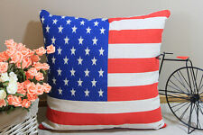 Zakka Vintage Cotton Linen Cushion Cover Home Decor American US FLag