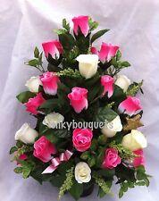 Silk Flower Grave Pot Artificial Arrangement Flat Back Tribute Rose Gravestone