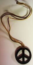 "Vintage 60's-70's Leather 2-11/16"" Peace Sign on a Leather Necklace (BRAND NEW)"