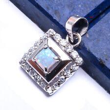 """FIRE OPAL & RUSSIAN CZ .925 Sterling Silver Pendant  .5"""""""
