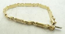 14K Yellow Gold X & Textured Bar Link Chain Bracelet 8.5 Inch 9.7g D535