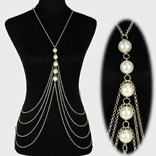 long tassel double shoulder pearl multi layer chain body chain necklace