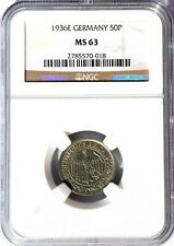 1936 E Germany 50 Pfennig, NGC MS 63, KM-49, Krause Catalog $220