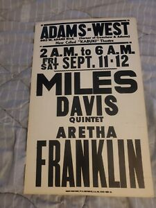 MILES DAVIS ARETHA FRANKLIN VERY EARLY  CARDBOARD BOXING STYLE CONCERT POSTER