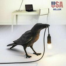 Resin Bird Table Lamps Crow LED Desk Lamp Bedroom Fixture...