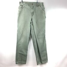 Carhartt Mens Carpenter Jeans Green Pockets Dungaree Fit Cotton Textured 34x34