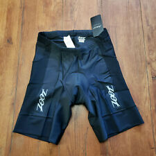 "ZOOT Mens XL Tri Shorts Black 9"" Inseam Padded Swim Bike Run Triathlon X-Large"