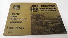 1974  JOHN SHEARER 700 DISC CULTIVATOR  Instructions & Parts Book