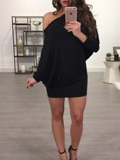 Damen One Shoulder Partykleid Abendkleid Minikleid Cocktailkleid Pullikleid Slim