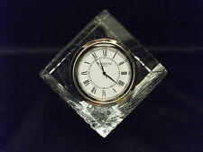 ~WATERFORD CRYSTAL MERIDIAN PYRAMID SQUARE 3 DIMENSION CLOCK~SIGNED~IRELAND