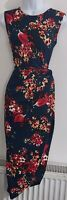 Womens Asos Dress size medium midi blue red flower wrap ruched waist occasion