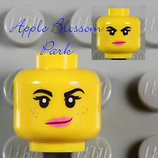 NEW Lego Female Girl MINIFIG HEAD - Movie Wyldstyle Wild Style w/Pink Lips Smile