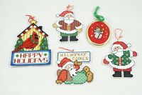 5 Completed Cross Stitch Christmas Santa Ornaments Wall Hanging Decor Finished