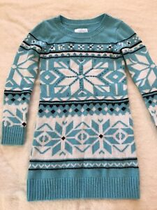 Girls JUSTICE Soft Light Blue Snowflake Sweater Dress EUC Size 10