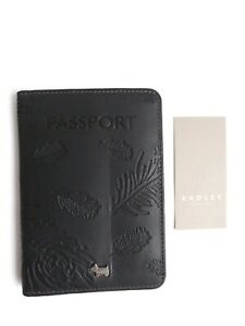 Radley Ashworth Black Leather Passport Cover - New RRP £35