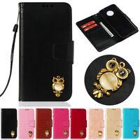 For Motorola Moto G6 C Plus G5 Z3 Play Owl Slim Wallet Leather Flip Case Cover