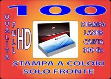 100 BIGLIETTI DA VISITA A COLORI 300GR STAMPA FRONTE QUALITA' FULL HD