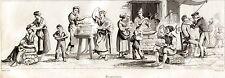 Napoli: Venditori di Maccheroni e Barbiere. Audot. Acciaio. Stampa Antica. 1835