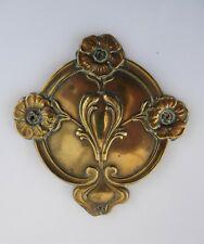 Antique Art Nouveau Brass Furniture Decoration Plaque Mount Adornment  c1910