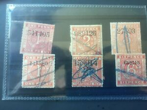 LANCASHIRE & YORKSHIRE RAILWAY: 6 USED NEWSPAPER PARCEL STAMPS - NICE LOT!