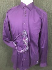 Au Noir Purple Men's Long Sleeve Button Front Casual Shirt Flip Cuff Turkey S