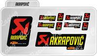 Kit 10 Adesivi Akrapovic KTM RACING resistente al calore Giallo
