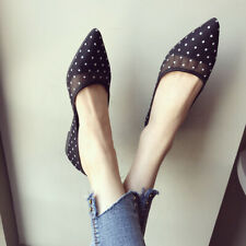 Fashion Women's Flats Pointed Toe Dots Mesh Shoes Casual Slip On Boat Loafers UK