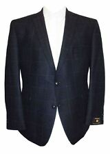 SCOTT New Wool Tweed Navy Over Check Sports Jacket, Chest 40 to 60 Inches, S/R/L