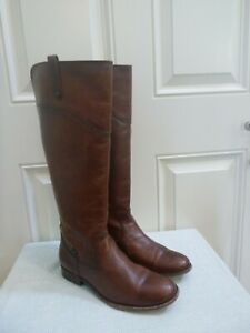 FRYE 10 Brown Distressed Leather Knee High Equestrian Riding Western Zip Boots