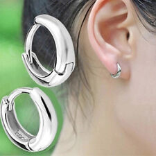 Fashion Women Girls Gifts 925 Sterling Silver Shiny Small Round Hoop Earrings