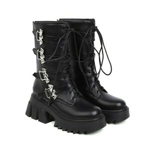 Fashion Women's Round Toe Mid-calf Boots Platform PU Leather Lace Up Shoes New