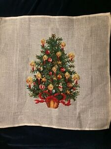 Needlepoint Canvas-Vintage Preworked Christmas Tree with Candles