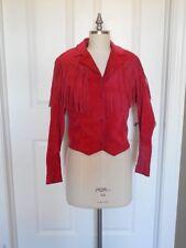 """Vintage RED SUEDE Leather Coat JACKET Southwestern FRINGE Boho Sz SMALL / 36"""" B"""
