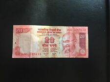 Reserve Bank Note of India 20 rupees GANDHI Pictured  circulated FREE SHIPPING