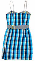 Princess Highway Womens Blue Check Sleeveless Dress with Belt Size 10