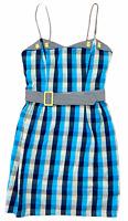 Princess Highway Womens Blue Check Sleeveless Dress with Belt Size 10