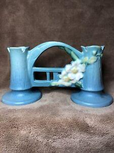 Roseville Pottery USA White Rose Blue Double Bud Vase #148