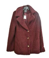 Sanctuary Womens Burgundy Faux Fur Teddy Notch Lapel Jacket Front Button Close L