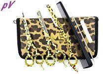 "Hairdressing 5.5"" Scissors Barber Salon Thinning SET Leopard Shears TRIM RAZOR"
