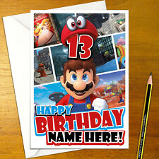 SUPER MARIO ODYSSEY Personalised Birthday Card - A5 nintendo bowser yoshi switch