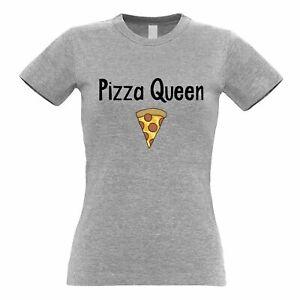 Novelty Food Womens TShirt Pizza Queen Slogan With Slice Social Media Teen Trend