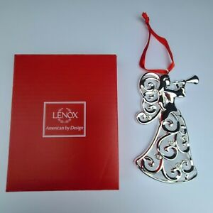 Christmas Lenox Angel Ornament Sparkle & Scroll Clear Crystal Silverplate 856515