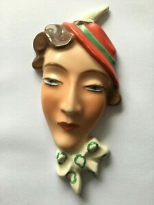 Vintage 1930s Art Deco pretty woman face wall mask - Made in Czechoslovakia