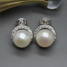 CZ Halo Freshwater White Ivory Pearl Silver Earrings 925 Silver Studs Wedding