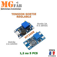 Module alimentation MT3608 2-24V to 5-28V USB réglable 2A| step up boost Arduino