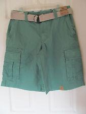 "NWT Men's Roebuck & Co Cargo Green Shorts knee length w/ belt size 32 12"" inseam"