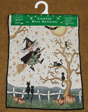 If The Broom Fits ~ Halloween Witches Tapestry Bannerette w/Lights