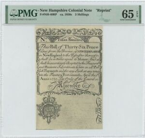 "1737 New Hampshire Three Shillings NH-40 PMG GEM 65 EPQ c. 1850 ""Cohen"" Reprint"