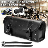 Universal Motorcycle Front PU Leather Fork Tool Bag Side Saddlebag Pouch Luggage